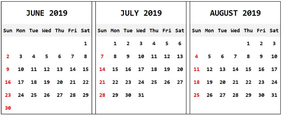 June July August Calendar 2019