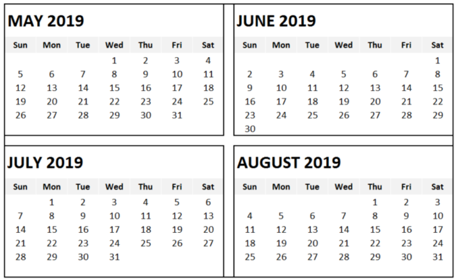May June July August 2019 Calendar