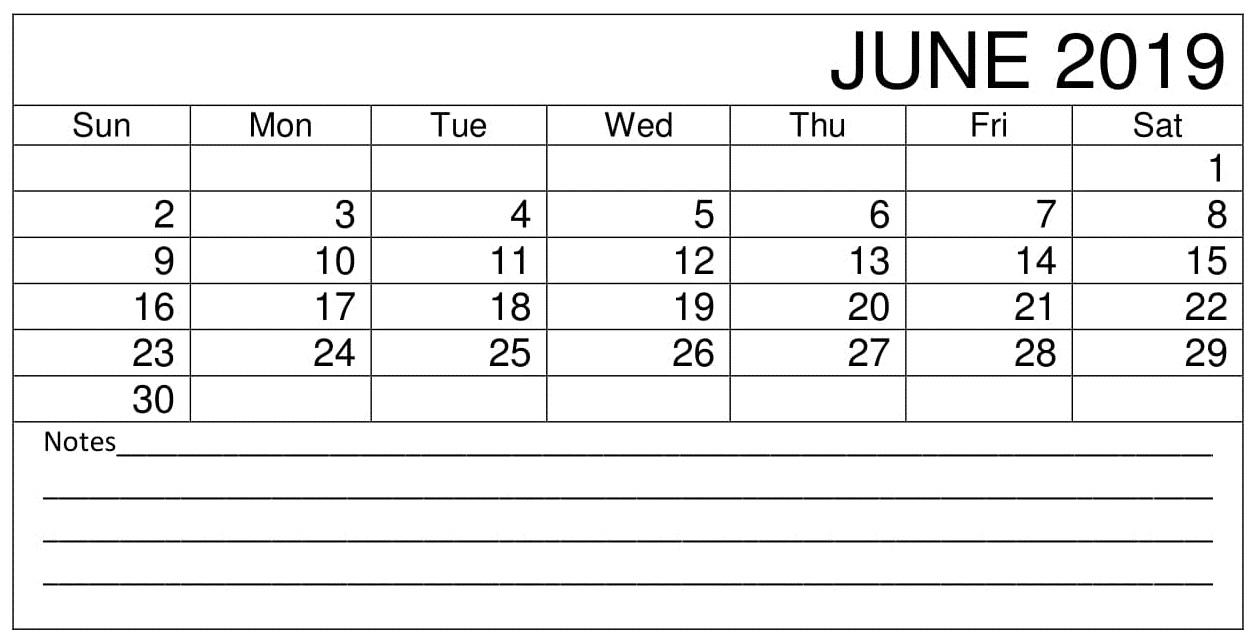 Free} June 2019 Planner Calendar Printable Templates Word