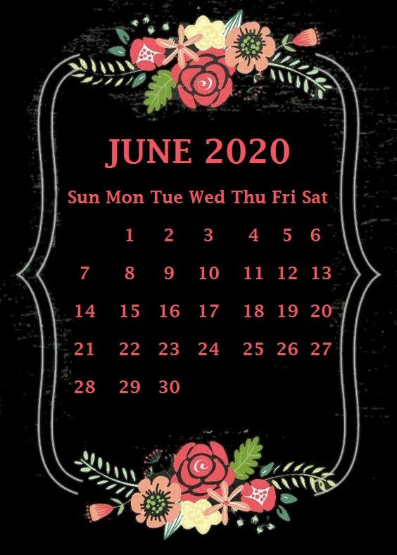 iPhone June 2020 Calendar Wallpaper