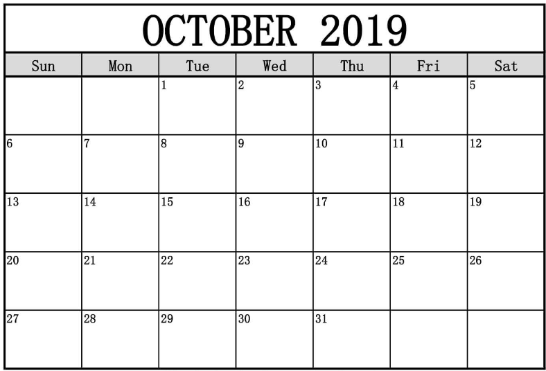 graphic regarding October Calendar Printable referred to as 2019 Oct Calendar - July 2020 Calendar Printable Blank