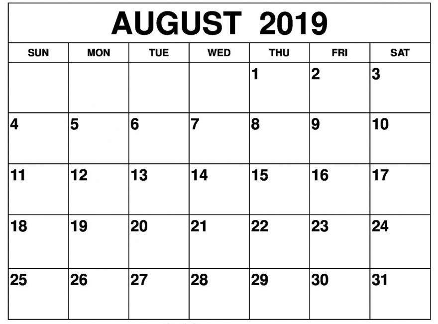 August 2019 Calendar Printable Desk
