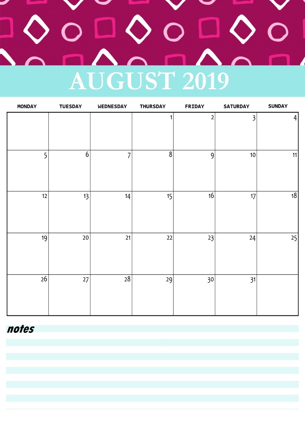 Editable August 2019 Calendar Template Pdf Word Excel
