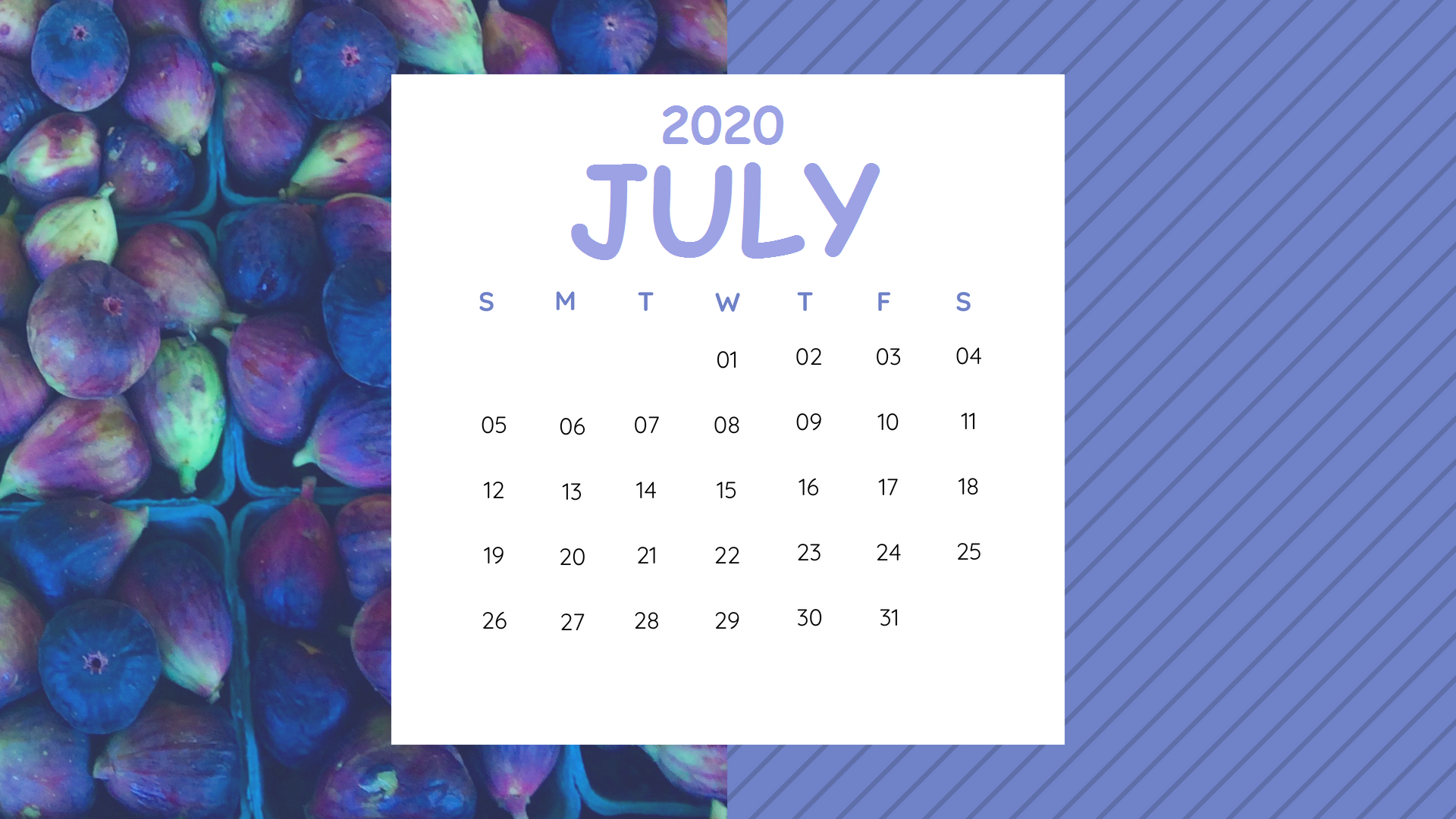 Cute July 2020 Desktop Calendar Wallpaper
