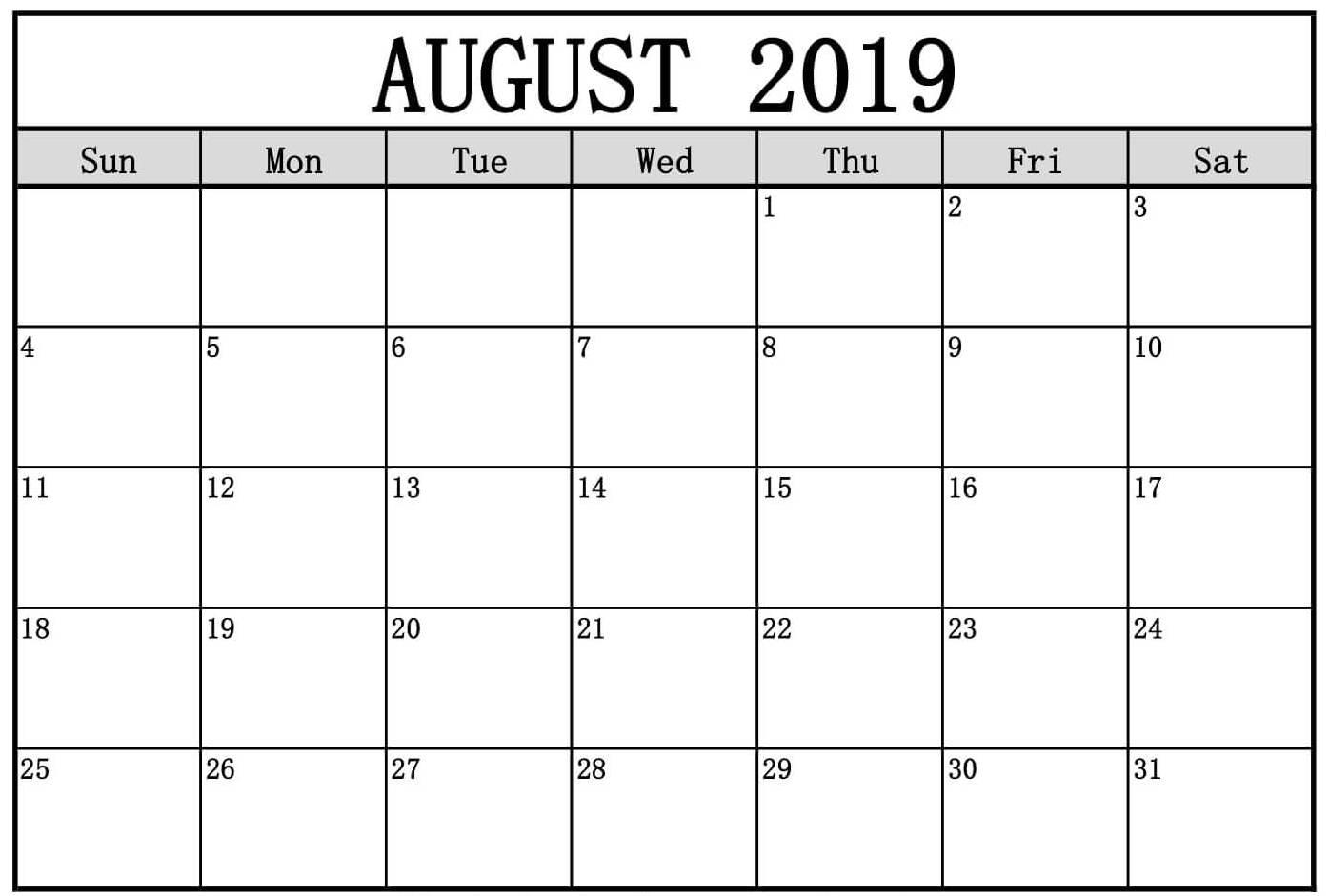 Fillable August 2019 Calendar Blank Template