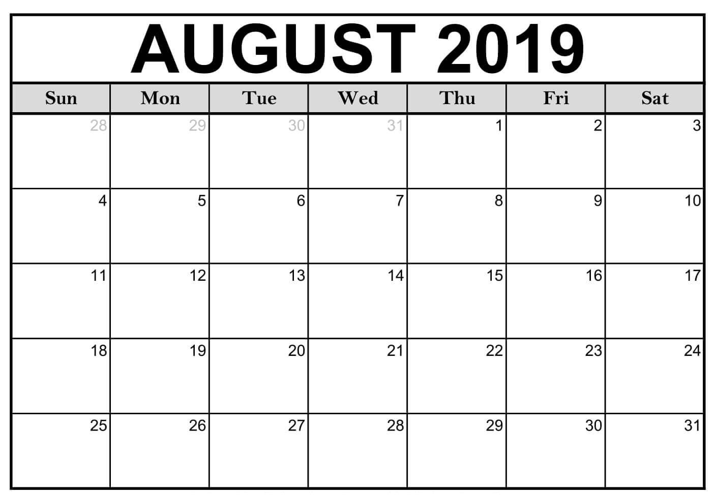 Fillable August 2019 Calendar