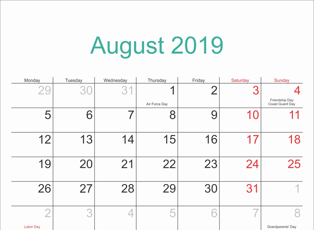Fillable Calendar for August 2019 Template