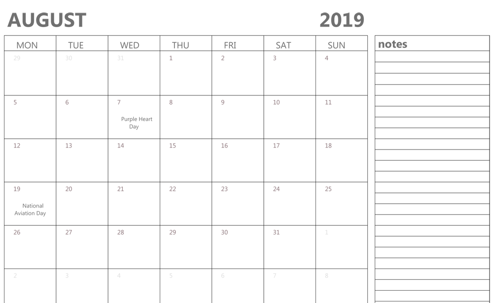 Fillable Calendar for August 2019 With Notes