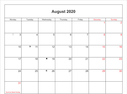 Fillable Calendar for August 2020 Excel