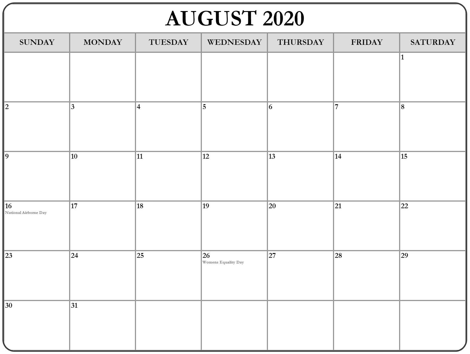 Fillable Calendar for August 2020 Word