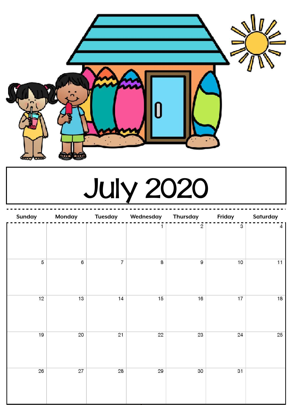 Free Printable 2020 Calendar July Cute