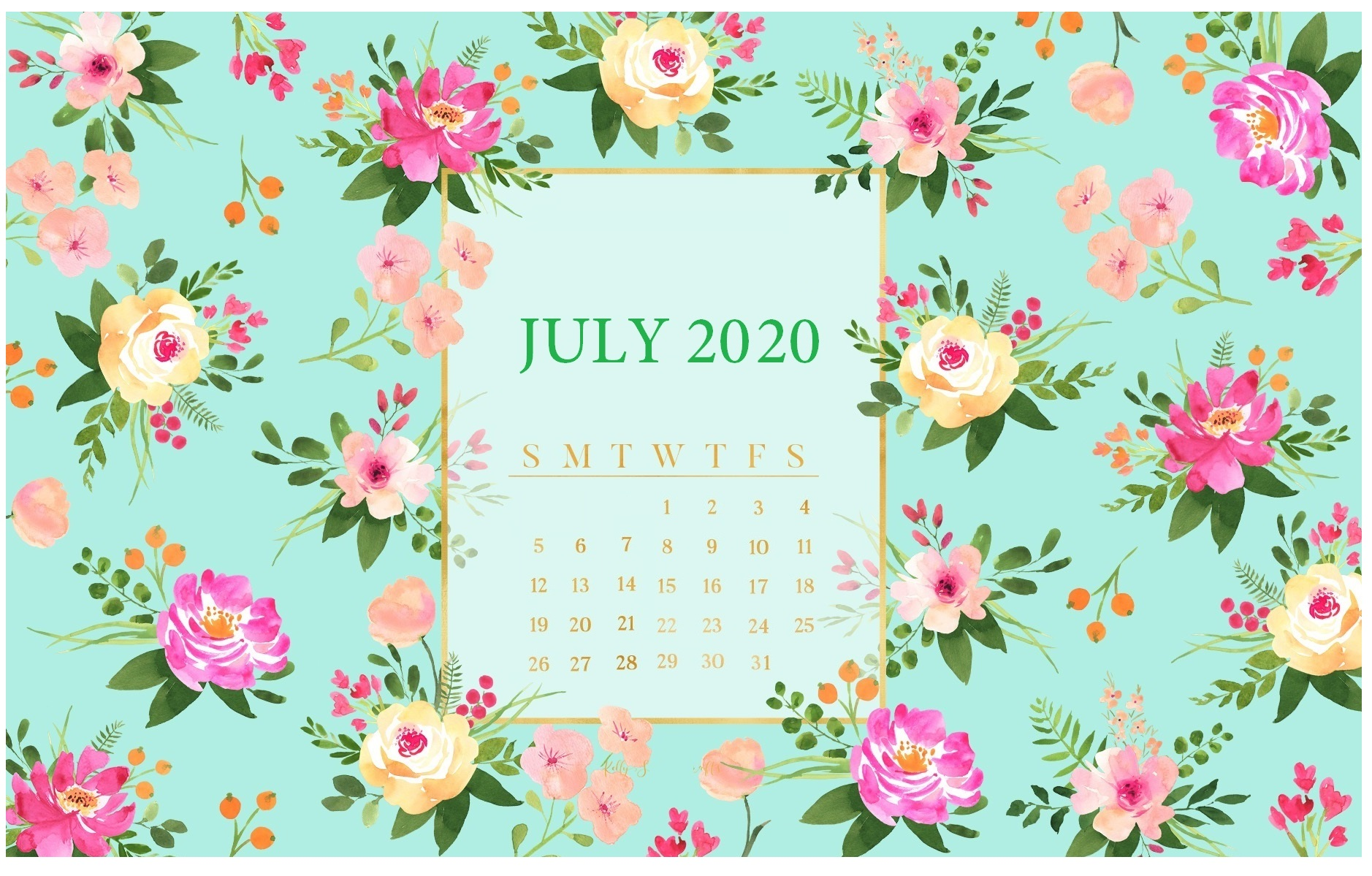 July 2020 Desktop Calendar Wallpaper Floral July 2020 Wall
