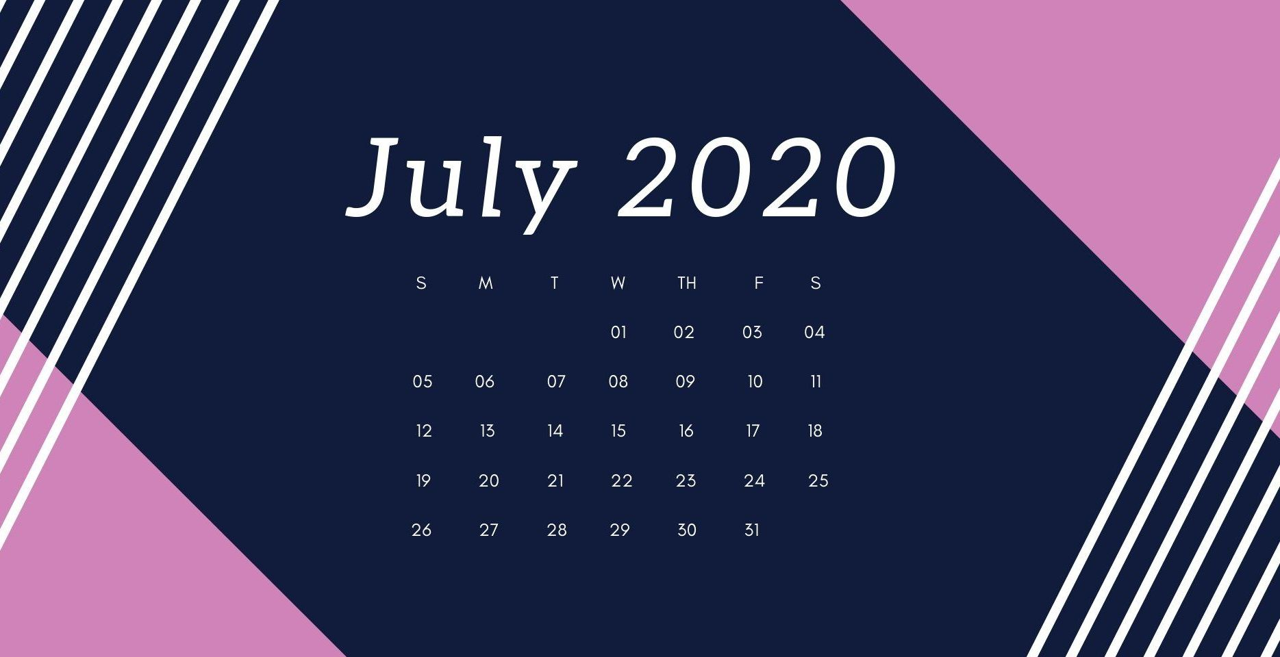 July 2020 Desktop Calendar Wallpaper