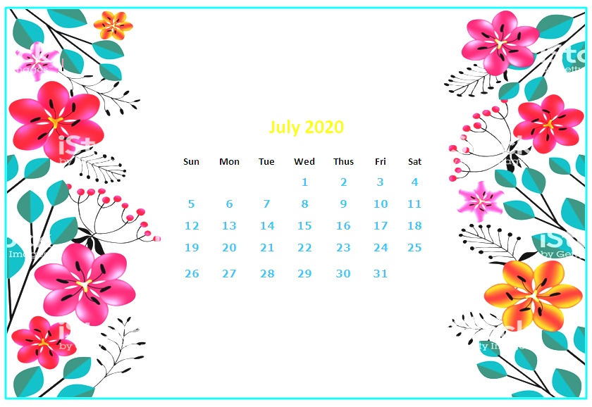 July 2020 Desktop Calendar