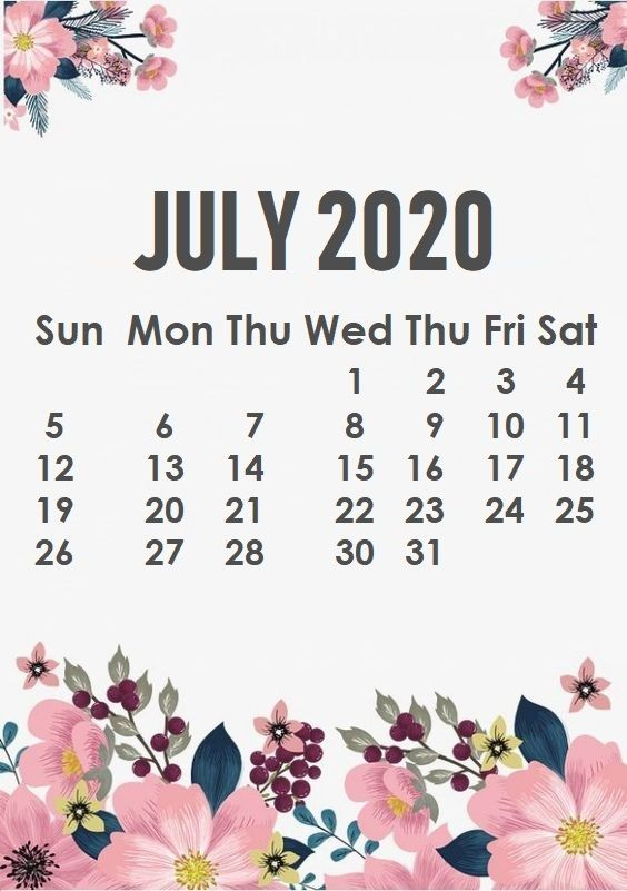 July 2020 iPhone Calendar Wallpaper