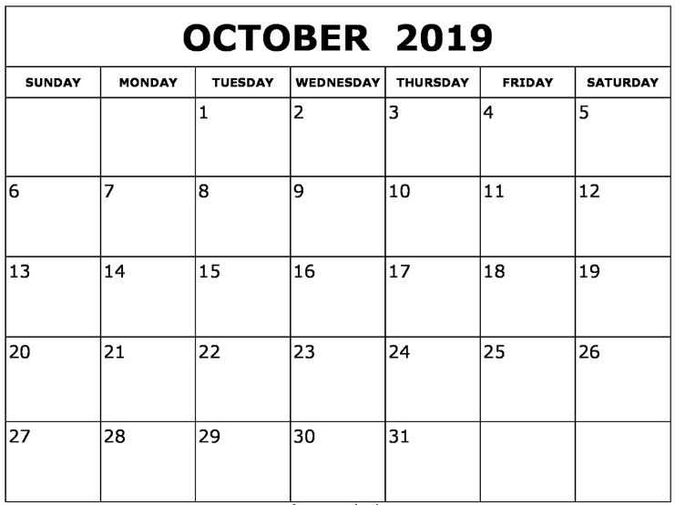 graphic relating to October Calendar Printable titled Oct 2019 Calendar Printable - July 2019 Calendar