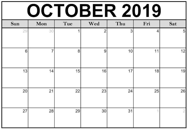 October 2019 Calendar July 2020 Calendar Printable Blank