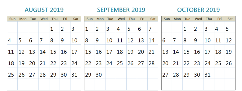 2019 August September and October Calendar Blank Template