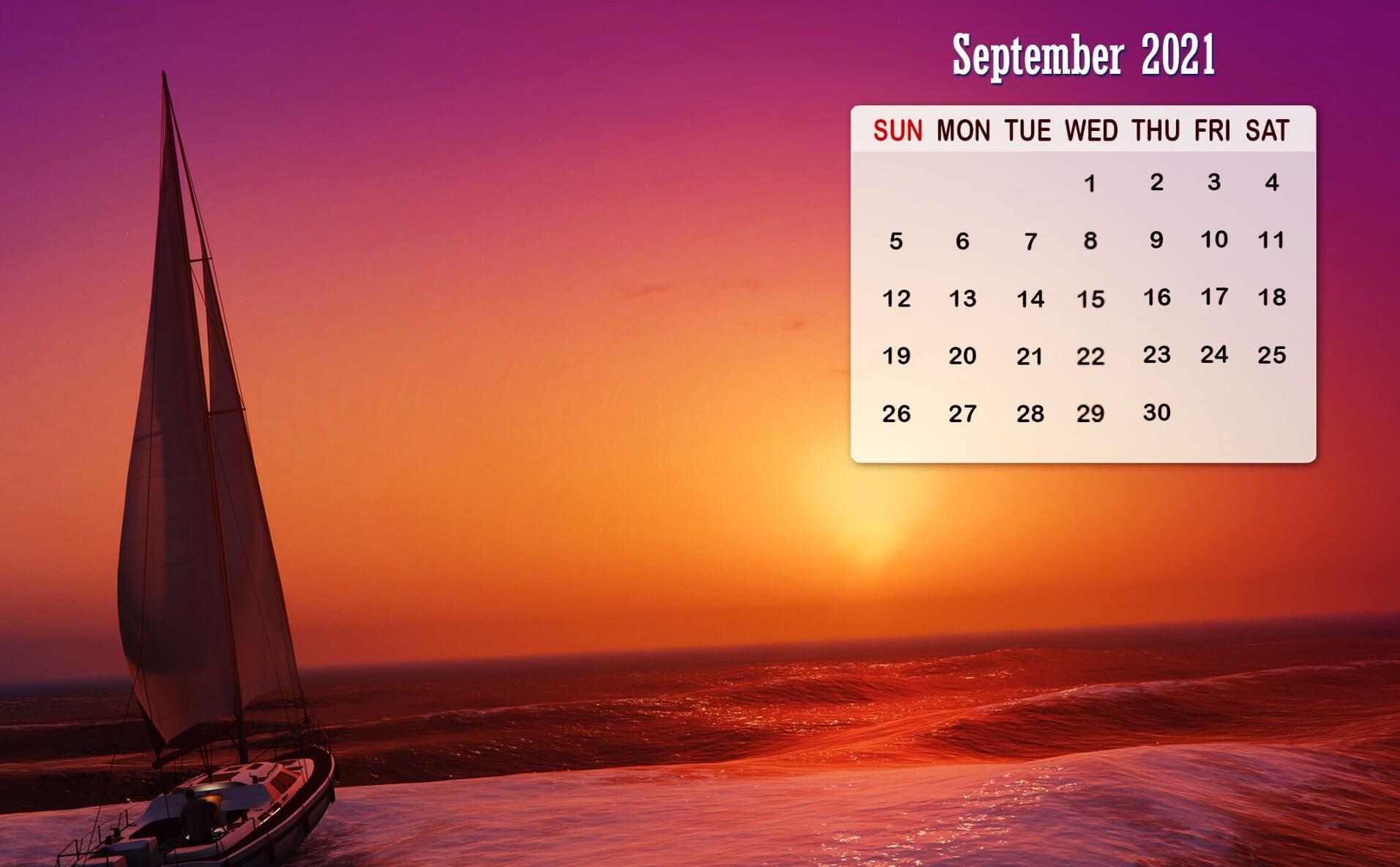 2021 September Desktop Calendar