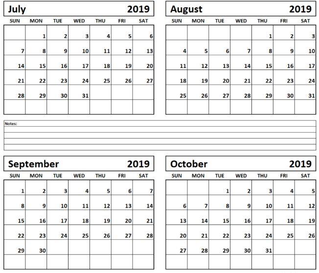 Aug Sept Oct 2019 Calendar Printable