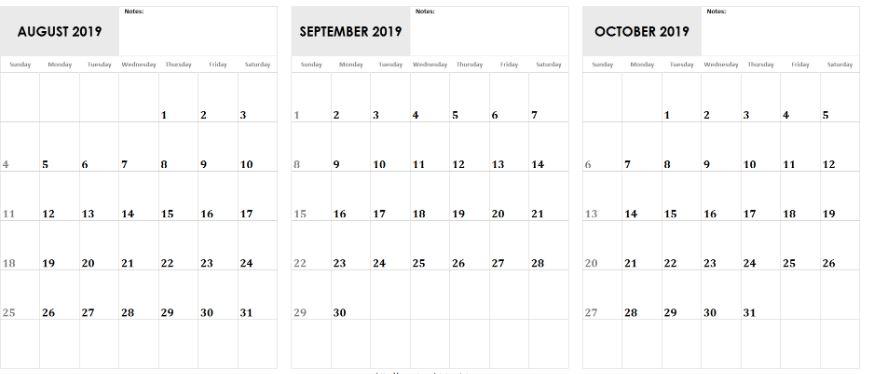 Aug Sept Oct 2019 Calendar Template