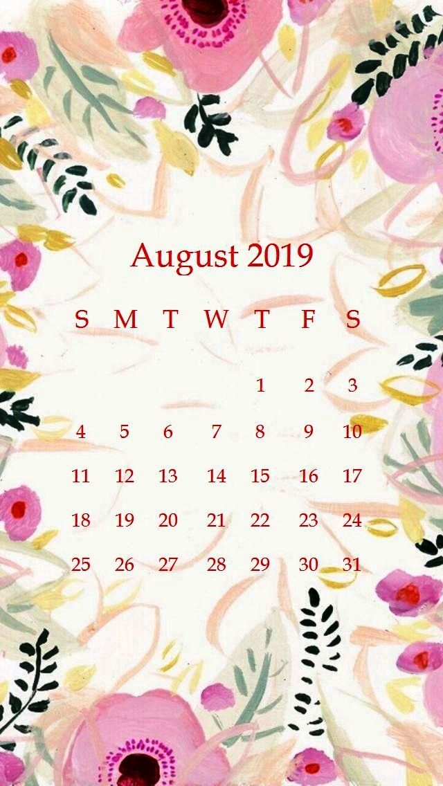 August 2019 Calendar iPhone Wallpaper
