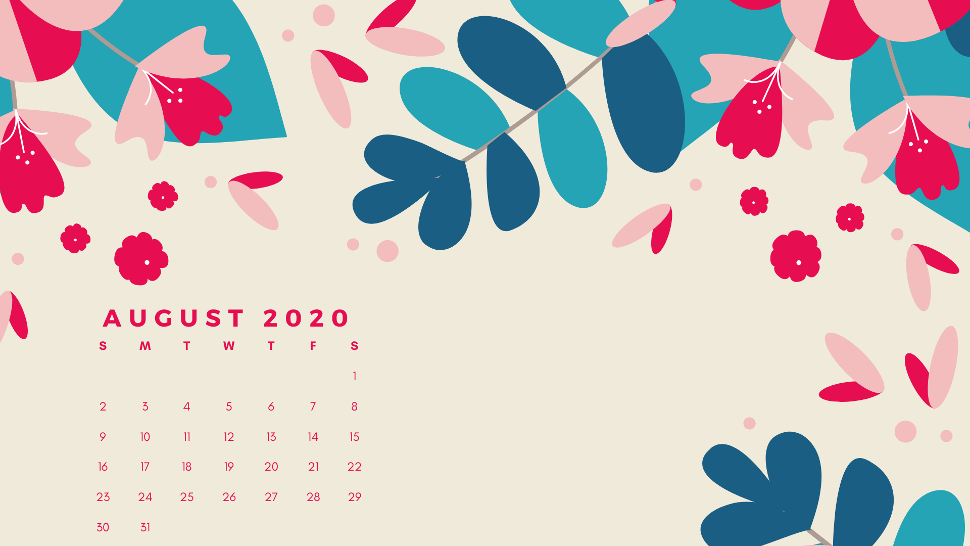 August 2020 Calendar Desktop Background