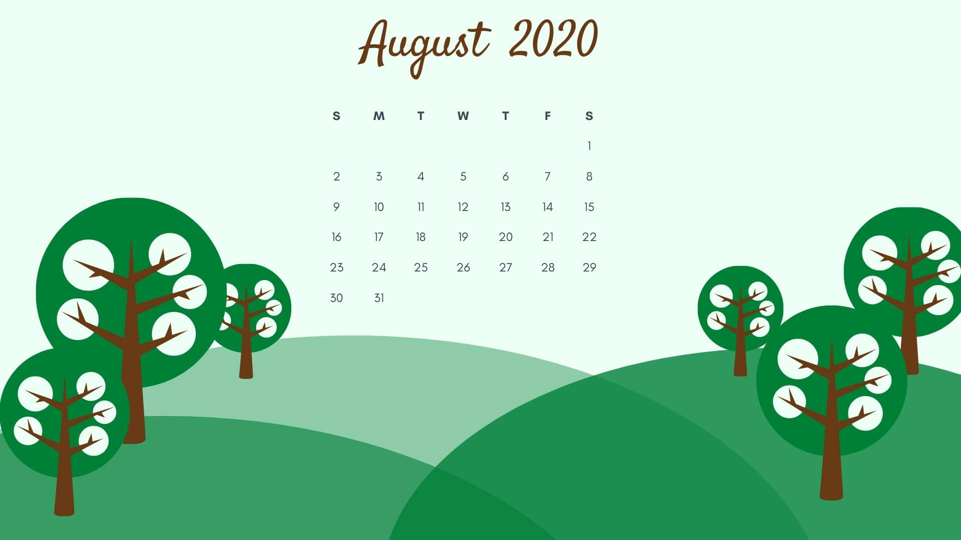 August 2020 Desktop Background Calendar HD Wallpaper