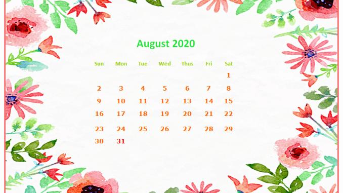 August 2020 Screensaver Calendar