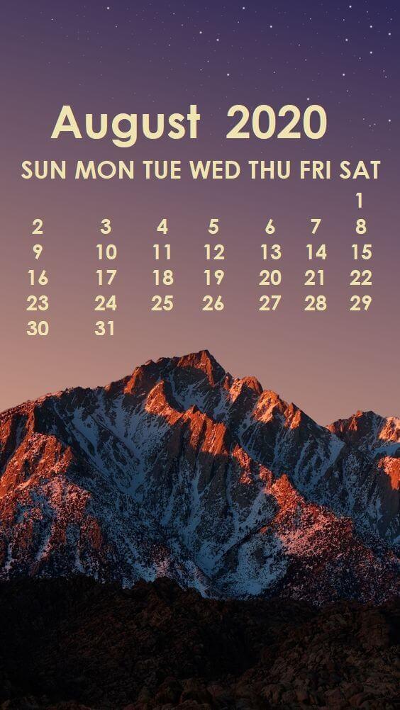 August 2020 iPhone Calendar Screensaver
