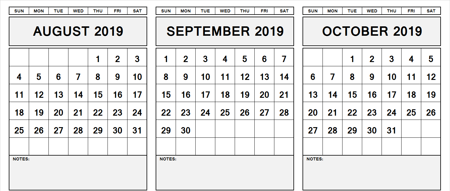 August September October Calendar 2019 Blank Template