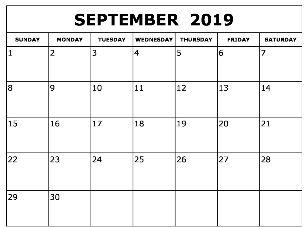 photo relating to Printable September Calendar named Blank September 2019 Calendar Printable Absolutely free Down load