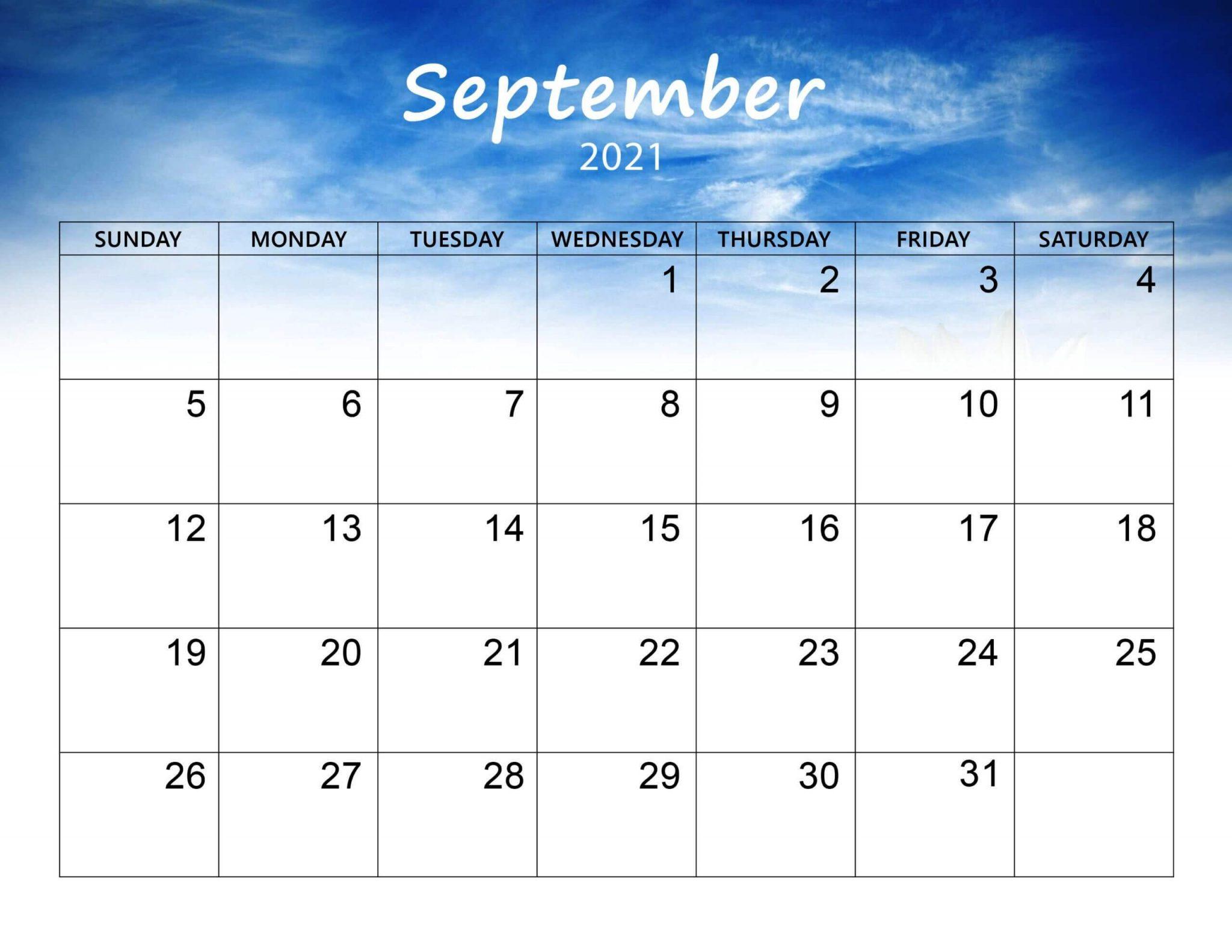 Cute September 2021 Calendar Free