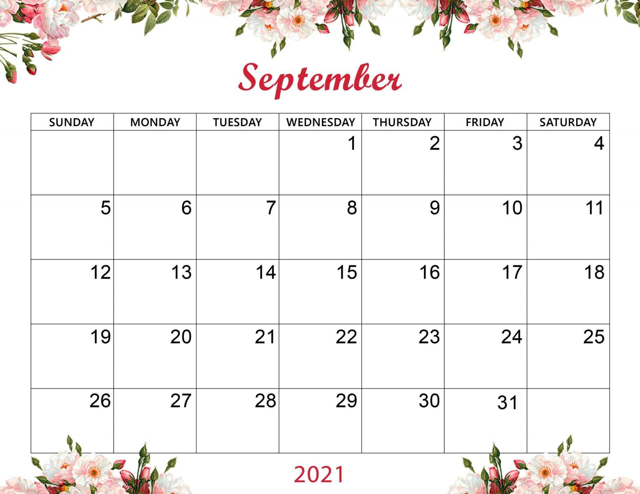 Cute September 2021 Calendar Printable