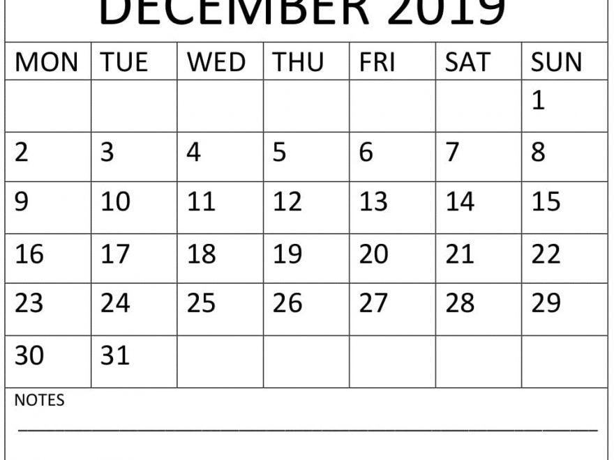 December 2019 Calendar With Notes