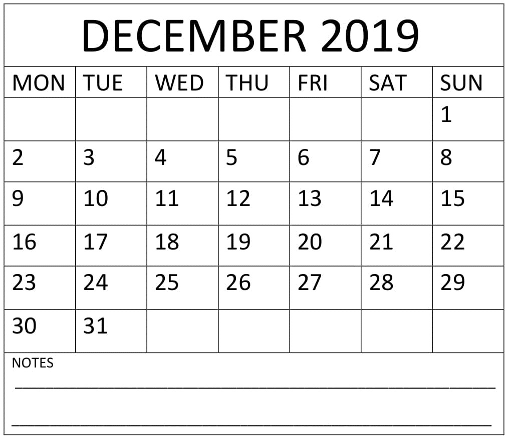 December 2019 Calendar With Notes
