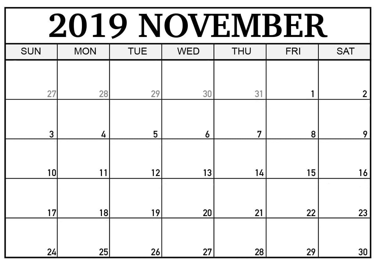 November 2019 Calendar Excel