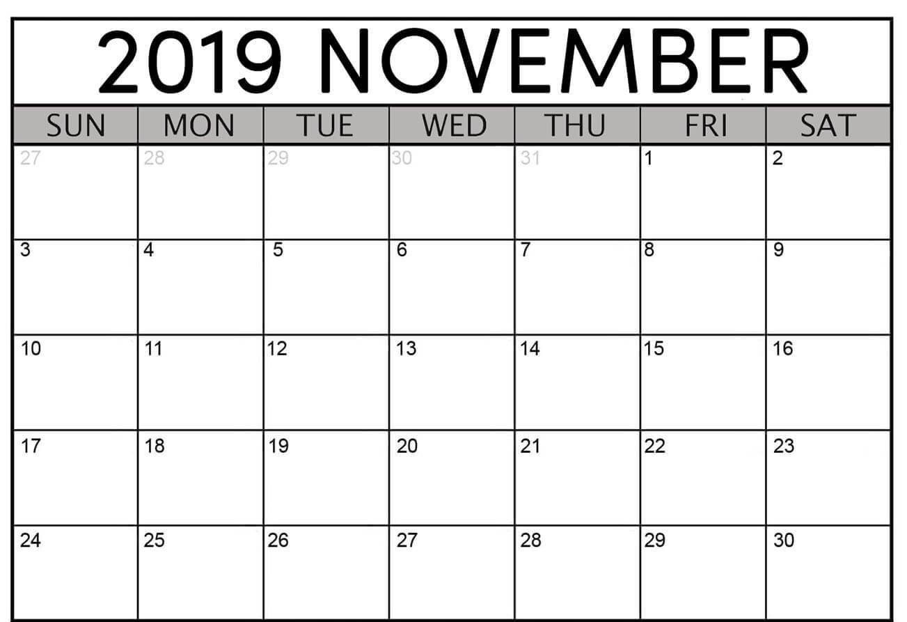 image relating to Printable Nov Calendar named November 2019 Calendar PDF, Phrase, Excel Template
