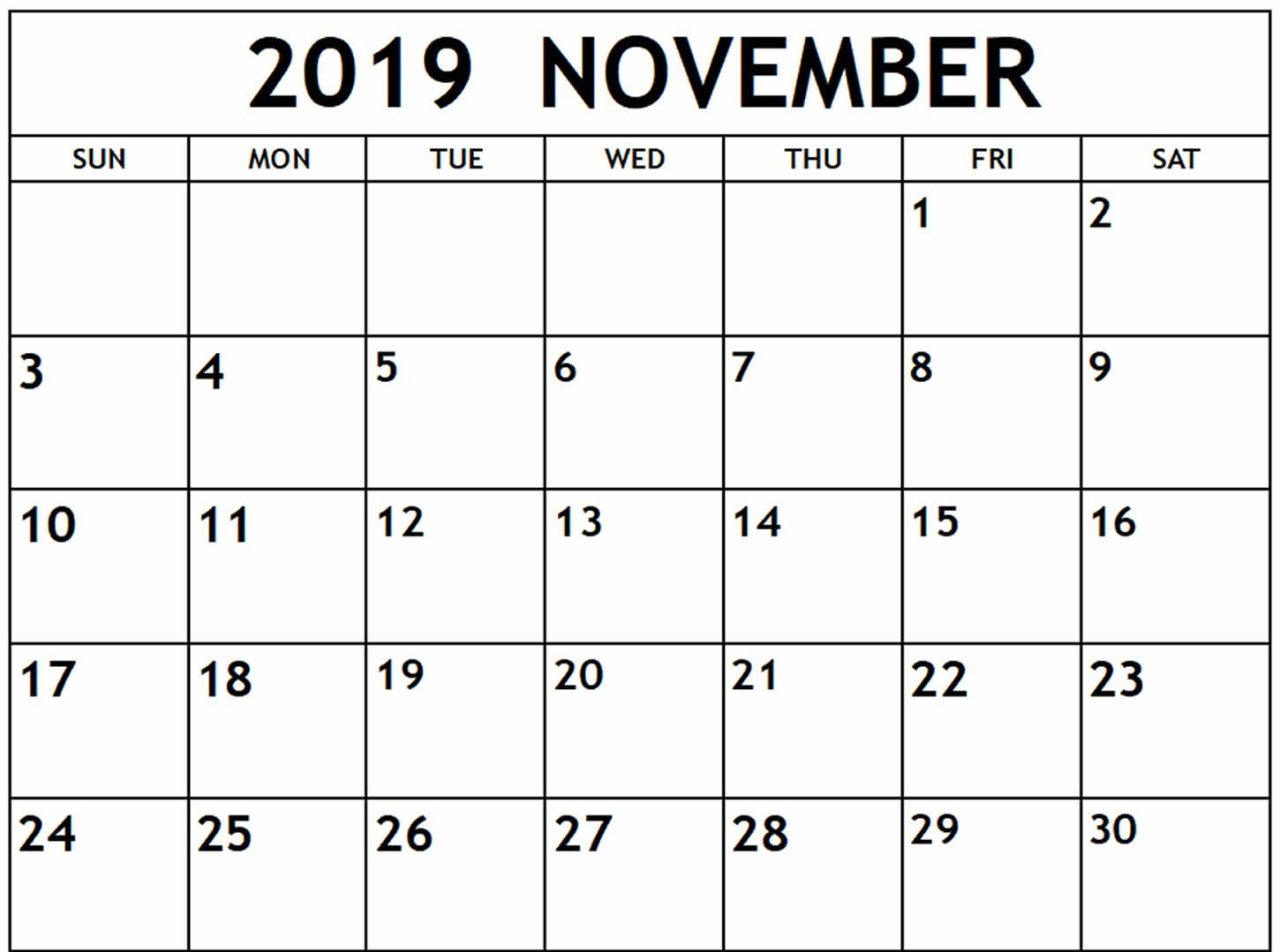 graphic relating to Nov Calendar Printable Pdf named November 2019 Calendar PDF, Phrase, Excel Template