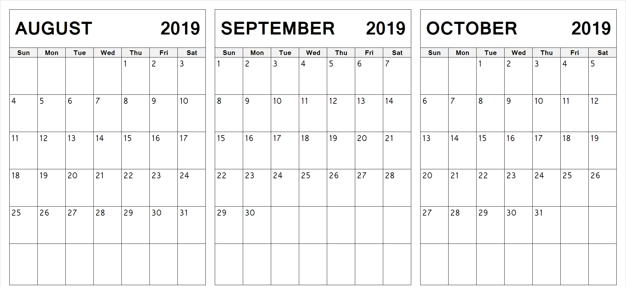 Printable 2019 August September October Calendar
