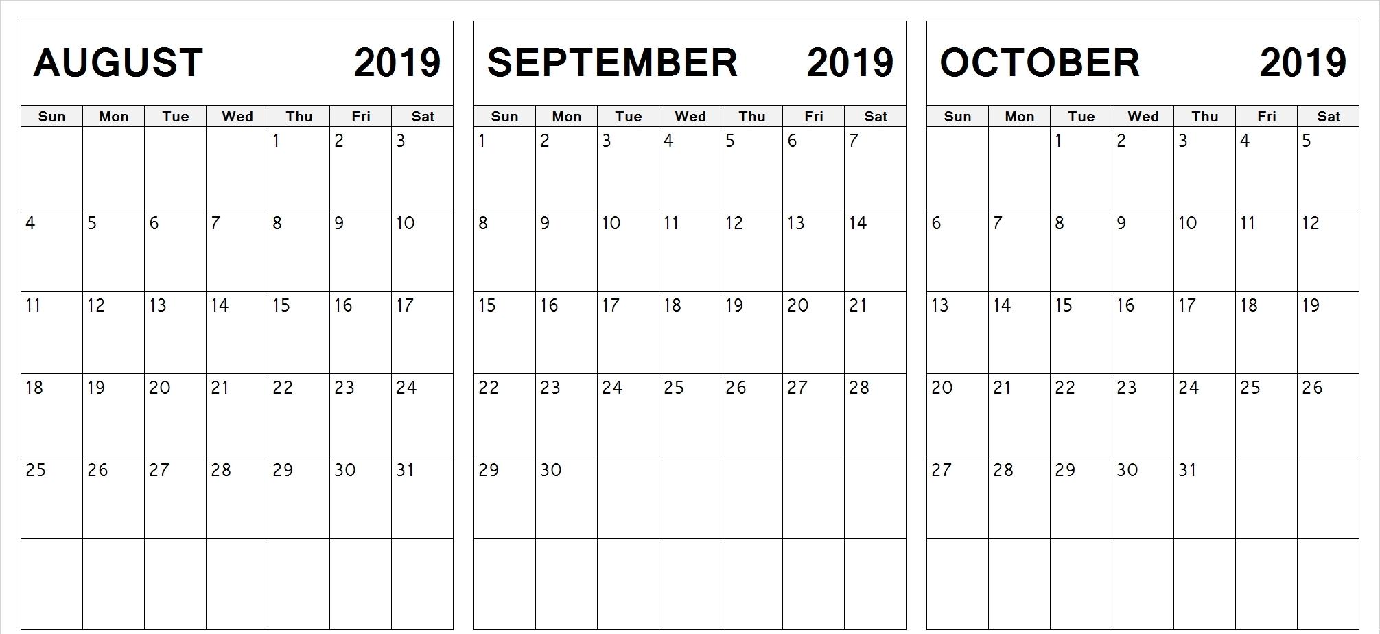 Printable 2019 August September October Calendar