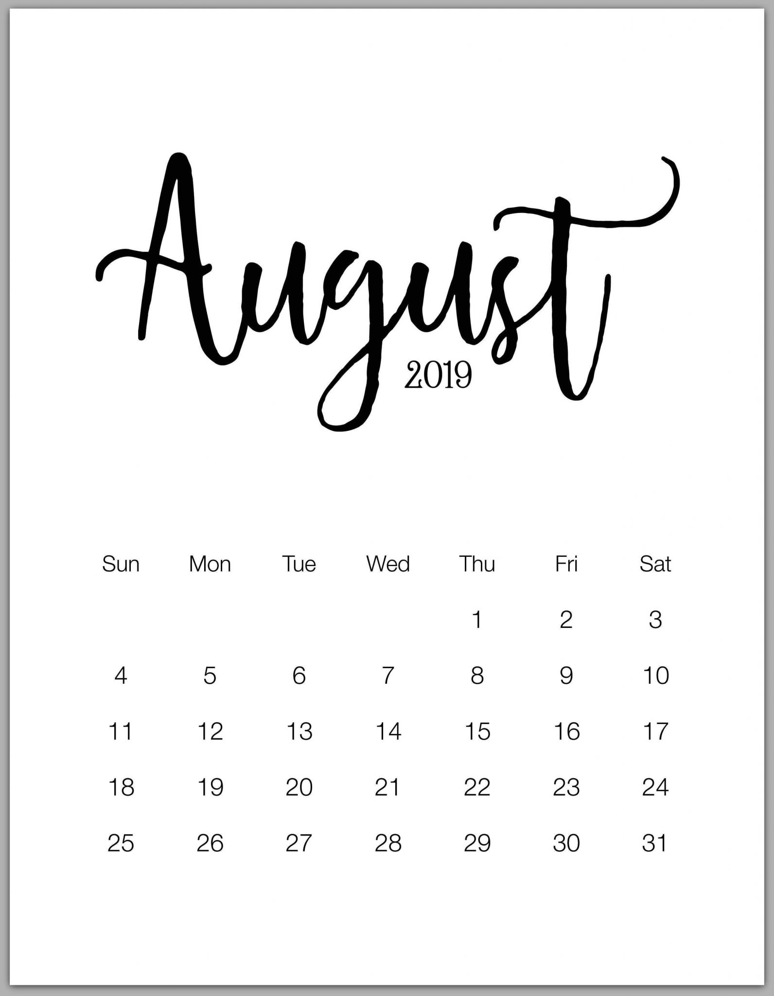 Printable August 2019 Desktop Calendar Wallpaper