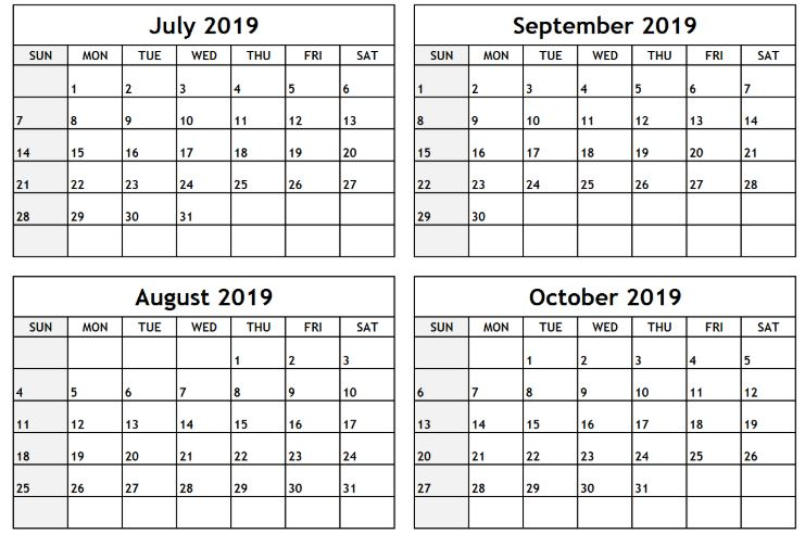 Printable August September October 2019 Calendar