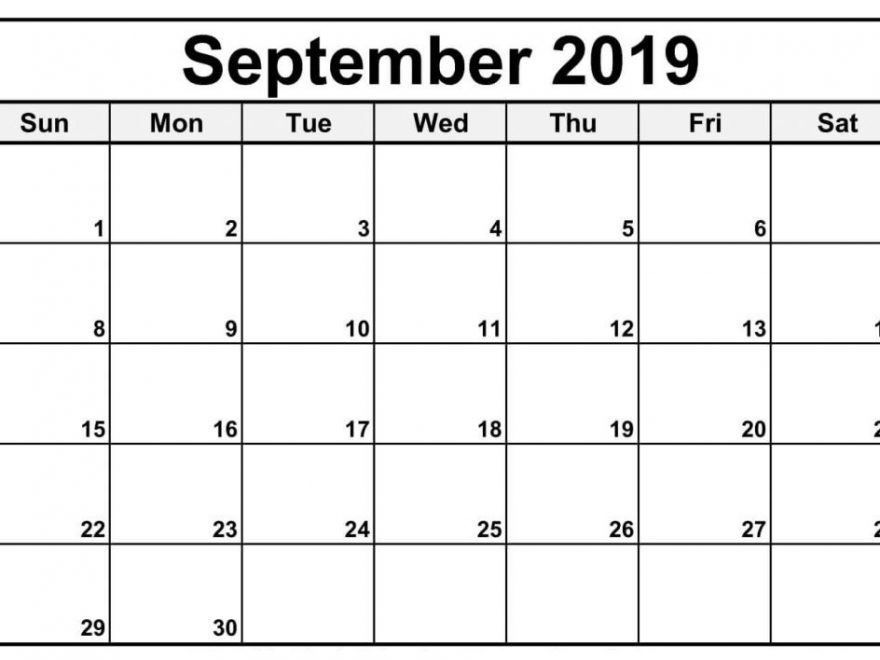 September 2019 Calendar Monthly
