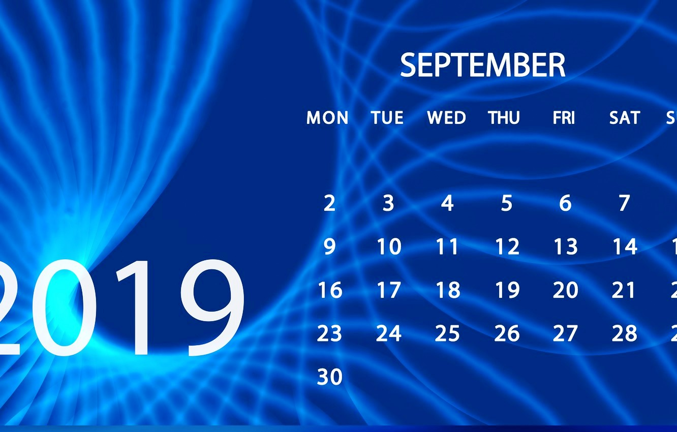 September 2019 Desktop Calendar Wallpaper