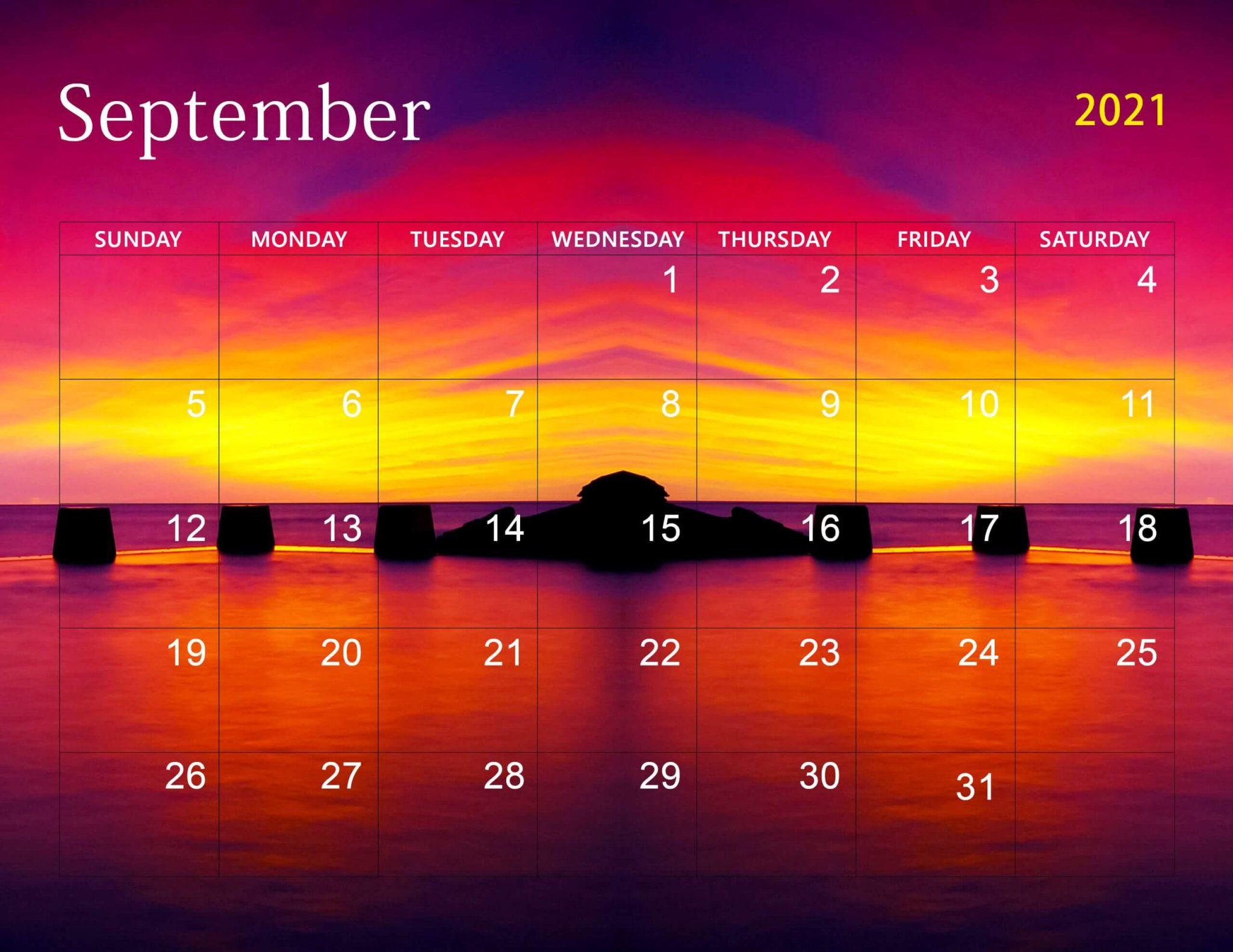 September 2021 Calendar Desktop Wallpaper