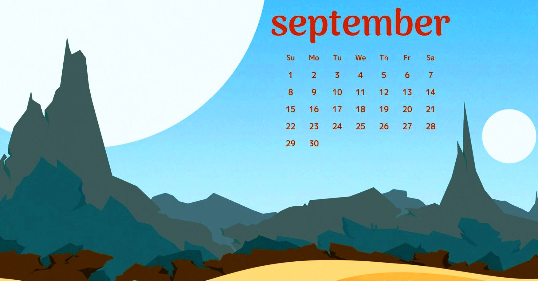 September Calendar 2019 Desktop