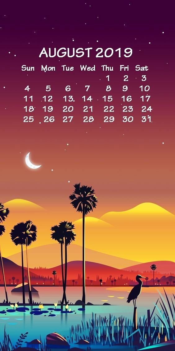iPhone August 2019 Calendar Wallpaper