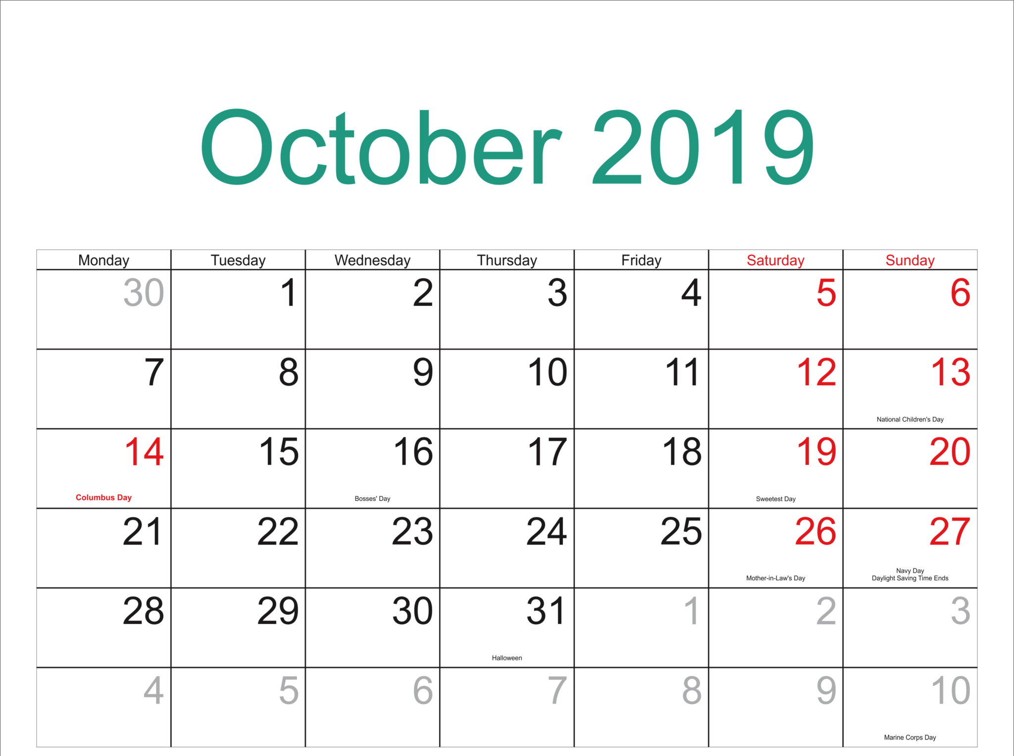 2019 October Calendar Moon Phases