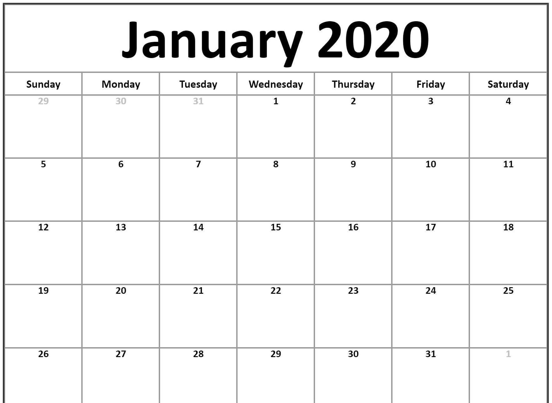 2020 January Calendar Template